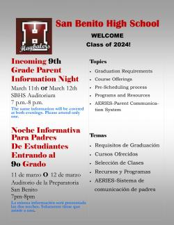 Incoming 9th Grade Parent Information Night